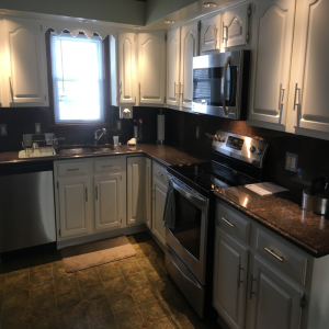 This Small Kitchen Had A Little Fire Damage. For Our Part The New Cabinet  Paint Made It Look Better Than It Ever Did.